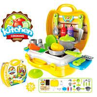 Кухня 8311 (36шт) плита+мойка, посуда, продукты, 26 предметов, в чемодане, 22-22-10см