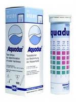 Полоски тестовые AQUADUR, для определения жесткости воды, градация 4 / >7 / >14 / >21 °d, уп. 100 шт.