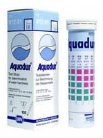 Полоски тестовые AQUADUR, для определения жесткости воды, градация 4 / >8.4 / >14 °d, уп. 100 шт.