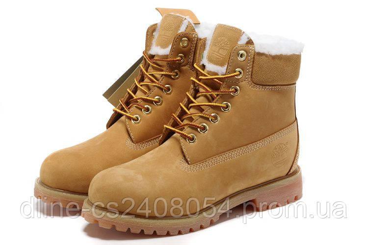"""Ботинки Timberland 6"""" жёлтые с мехом"""