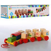 Деревянная игрушка Паровозик MD 0917 (72шт) каталка, геометрика, кубики 8шт, в кор-ке, 30-9-7см