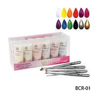 Набор акриловых 3-D красок с кисточками для рисования