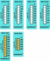 Одноразовые 8-точечные полоски для измерения температуры testoterm® Тип 06461724 Диапазон измерения +116 ... +154 °C Описание 8 меняющихся под действи