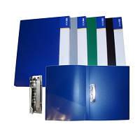 Папка с прижимом пластик CLIP B Light, с двумя карманами, синяя