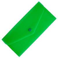 Папка-евроконверт Е65 прозрачный на кнопке, зеленый Economix