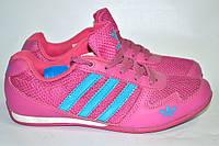 Кроссовки женские Adidas розовые, 3 голубых полоски OK-9091, фото 1