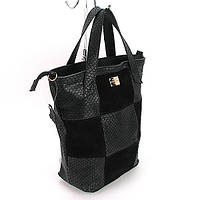 Большая сумка корзина вертикальная кожаная замшевая
