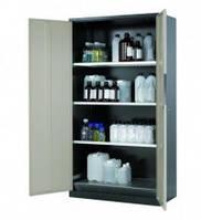 Шкаф для хранения реагентов CS-CLASSIC с двустворчатыми дверями, 1055х520х1950 мм, сталь, серый, 3 полки, приемный поддон, замок