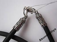 Каучуковый шнурок 3 мм, серебро 925 (8014)