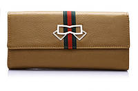 Женский кожаный кошелек в стиле Gucci. Кожа 100%. Светло-коричневый.