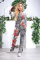 """Женский спортивный велюровый костюм """"Eze,"""" леопард принт розы, разм с 42 по 54, фото 1"""