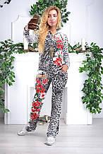 """Женский спортивный велюровый костюм """"Eze,"""" леопард принт розы, разм с 42 по 54"""