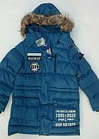"""Куртка зимняя подростковая удлинённая на мальчика GRACE с нашивкой """"YES"""""""