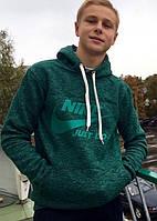 Теплая пайта на флисе Nike пайта-кенгуру толстовка зеленая с капюшоном