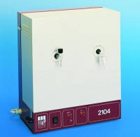 Бидистиллятор Тип 2104 Производи-тельность 4 л/час Расход воды 120 л/час Размеры(Ш х Д х В) 550 x 280 x 570 мм Мощность 6500 Bт Питание 400V* 50/60 Hz