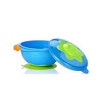 """Тарелка для СВЧ-печи на присоске с крышкой """"Улёт! Посуда!"""" Nuby, синяя (5322-3)"""