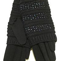 Женские перчатки трикотаж + вязка черные