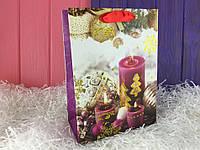 Бумажный новогодний пакет размера S (упаковка 12 шт)