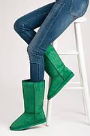 Классические зимние угги женские зеленого цвета