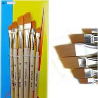 Кисти -6 шт., плоские скошенные, деревянные