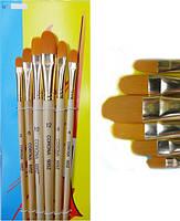 Кисти -6 шт., плоские элипс, деревянные