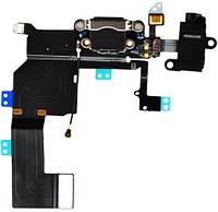 Шлейф для Apple iPhone 5С черный коннектор зарядки