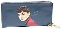 Мягкий стильный женский качественный кошелек барсетка с фото знаменитосней SACRED art. 858A-5 синий