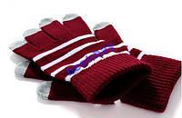 Перчатки для сенсорных тач экранов Рукавицы вязанные Красные