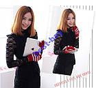Перчатки для сенсорных тач экранов Рукавицы вязанные Красные, фото 2