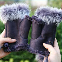 Перчатки женские Рукавицы Мех кролика Коричневые