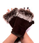 Перчатки женские Рукавицы Мех кролика Коричневые, фото 2