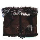 Перчатки женские Рукавицы Мех кролика Коричневые, фото 5