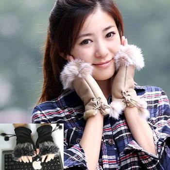 Перчатки женские Рукавицы Мех кролика Бежевые