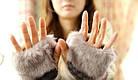 Перчатки женские Рукавицы Вязанные Мех Серые, фото 4