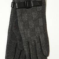 Женские трикотажные перчатки с ремешком серые