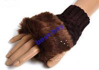 Перчатки женские Рукавицы Вязанные Мех Коричневые #2, фото 1