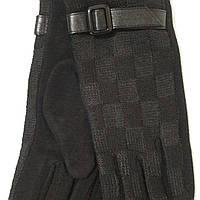 Женские трикотажные перчатки с ремешком черные