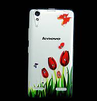 Чехол накладка для Lenovo A6000 силиконовый Diamond, Тюльпаны