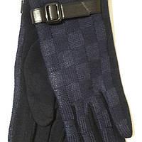 Женские трикотажные перчатки с ремешком синие
