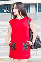 Платье красное с аппликацией из эко-кожи Две Звезды