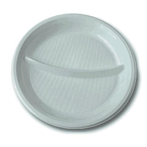 Тарелки одноразовые (2 секции) 100шт.