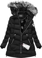 Асиметричный  Зимний женский пуховик куртка  с капюшоном