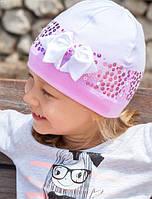 Головной убор для девочек Бело-синий Осень 50-54 см 3-002228 Tutu Польша