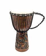 Барабан резной дерево с кожей (50х27х27 см)