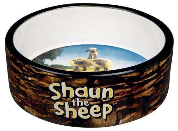 Trixie Миска керамическая Shaun the Sheep, 0.3 л/ø 12 см, коричневая