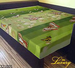 """Простынь на резинке 90х200 см """"Бабочки на зеленом фоне"""" in Luxury™ 32005"""