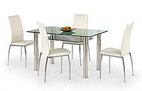Обеденный стол Lenart Halmar со стеклянной столешницей и каркасом из нержавеющей стали