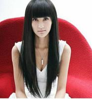 Парик длинные волосы с челкой  Черный