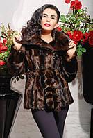 Модная молодежная шубка из эко-меха под норку, коричневая паркет
