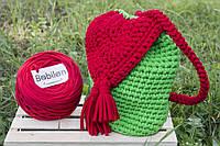 Вязаный рюкзак крючком из трикотажной пряжи красно-зеленый